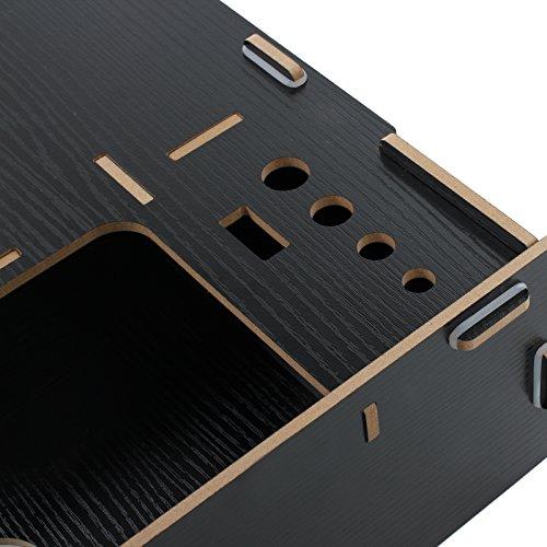 Soporte de Mesa para Monitor Organizador de Madera con Dos Pisos Ideal para Desktop Monitor LCD TV Laptop Ordenador Portátil Screen- Marrón negro