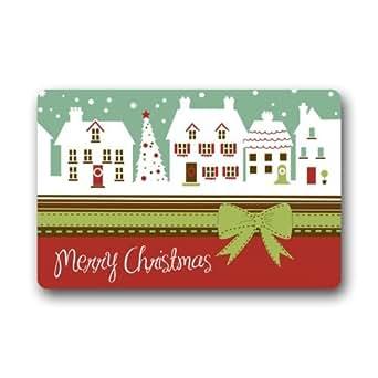 """Fashion estilo feliz Navidad nieve día interior/al aire libre piso mat-23.6""""(L) x15.7(W) 3/16"""""""
