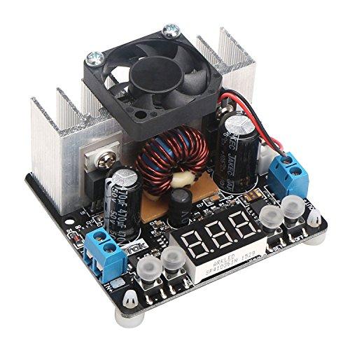 DROK DC 12V 24V NC Step Down Voltage Regulator 8A Numerical Control Buck Converter with Heatsink Fan 6-40V to 0-38V Adjustable Digital Voltmeter Display Constant Volt Stable Power Supply DIY