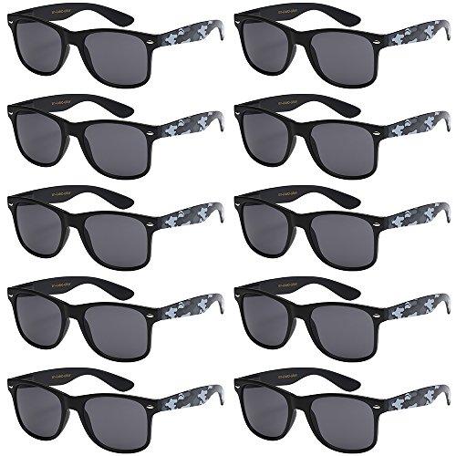WHOLESALE UNISEX 80'S RETRO STYLE BULK LOT PROMOTIONAL SUNGLASSES - 10 PACK (Matte Black / Gray Camo / Smoke, - Wholesale Camo Sunglasses