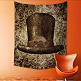 Auraisehome Tapestry Wall Tapestry Steampunk top Fiction Concept Head Accessory as a Technology Futuristic Fictional Hybrid Art Wall Decor 54W x 72L INCH