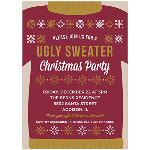 (Ugly Sweater Christmas Party Invitations 5x7, Set of)