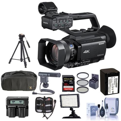 Sony PXW-Z90V Compact 1in XDCAM 4K Camcorder with 3G-SDI Output - Bundle with Video Bag, 62mm Filter Kit, Spare Battery, Video Tripod, Shotgun Mic, Video Light, 32GB SDHC U3 Card and More