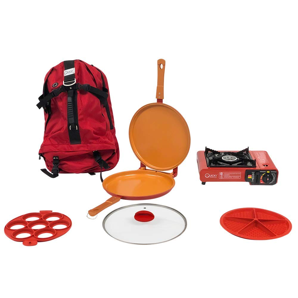 QUICKY COPPER PAN Camping Cookware Mess Kit Backpacking Gear & Hiking Outdoors Bug Out Bag Cooking Equipment Cookset Kitchen 7 Piece | Lightweight, Compact,Stove, Durable Pot Pan - Back Pack, Ebook