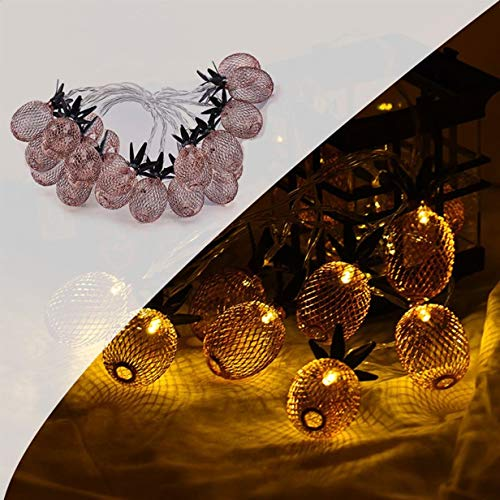 1 Set 2M Warm White 20x LED Night Lights Rose Gold Pineapple String Christmas Light Fairy Girls Lamp Inspiring Fashionable Unicorn Star Bulbs Wall Room Lamps Indoor Outdoor Holiday Decorations
