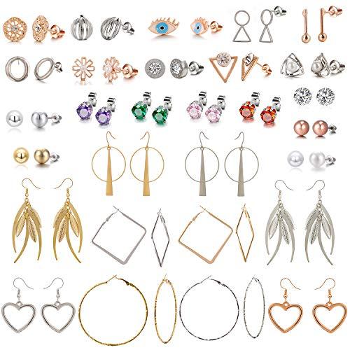 (29 Pair Gold Silver Assorted Multiple Pack Pearl Crystal CZ Stud Earrings set for Women Teens Girls Chic Simple Drop Geometric Hoop earring set ,Heart Shape,Evil Eye,Statement Dangle earrings (#1))