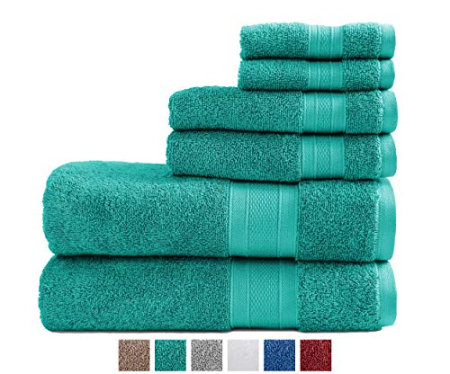 TRIDENT 100% Cotton Towels, 6 Piece Set - 2 Bath Towels, 2 Washcloths, 2 Face Towels, Super Soft and Highly Absorbent, Soft & Plush Bath Towels, 14 lbs/dzn (Teal) (Bathroom Towels Teal)