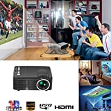 Hanbaili US Plug+Black(Portable Video Projector, 1920X1080 Multimedia Home Theater Video Projector to Achieve Your Movie at Your Family Party