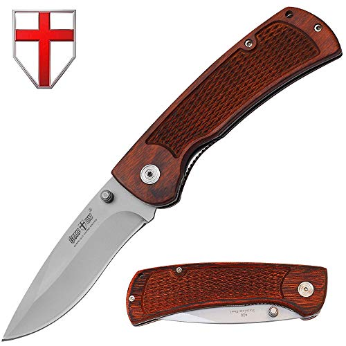 (Grand Way Jack Knife - Utility Folding Pocket Tactical Knife - Wood Handle Stainless Steel Knife - Best for Boy Scouts 00616-3)