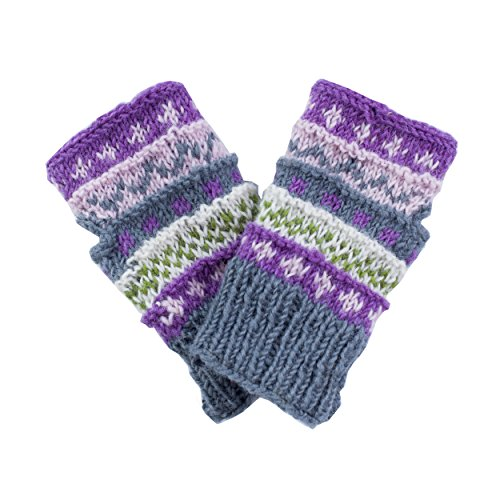 Winter wonder soft fingerless Fleece Lined Hand Knit gloves-Grey-One Size (Mittens Gloves Fingerless)
