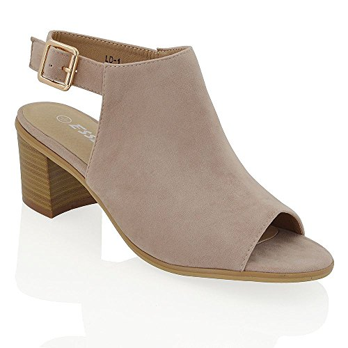 ow Block Heel Peep Toe Back Strap Beige Faux Suede Sandals Shoes US 7 (Faux Suede Sandals)