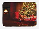 Ambesonne Christmas Bath Mat, Xmas Scene Celebrations with Tree and Gifts by the Fireplace Artful Design Image, Plush Bathroom Decor Mat with Non Slip Backing, 29.5 W X 17.5 W Inches, Red Yellow