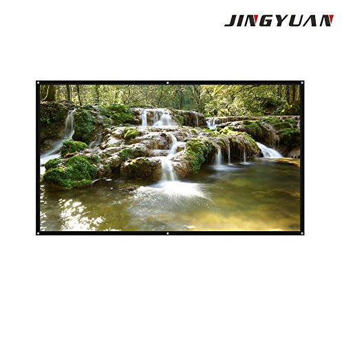 JingYuan 100 Inch Diagonal Projection 16:9 Projection, 4K Ultra HD Portable Indoor Outdoor ,Business Meetings Projector Screen by JINGYUAN