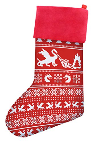 Funny Christmas Stockings Christmas Dragon Gag Gift Ugly Christmas Sweater Themed Pattern Christmas Stockings Secret Santa Gifts Christmas Stocking Red