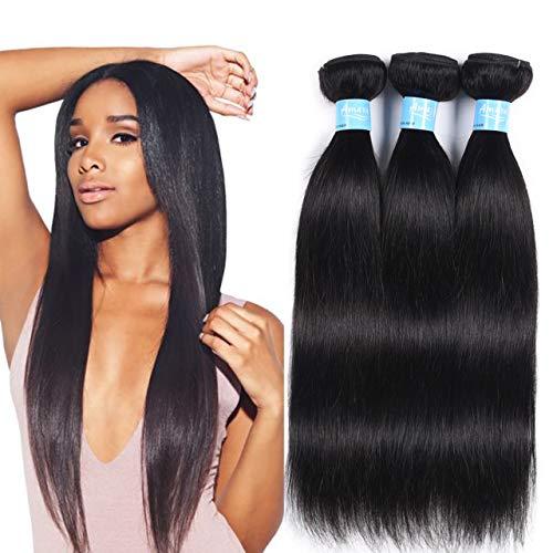 Amara Human Hair Brazilian Straight Virgin braiding Hair 3 Bundles 7A Grade 100% Unprocessed Remi Hair Bundles Hair Extensions Natural Black Color (14 16 18, Natural Color) - Human Hair Extensions Braiding