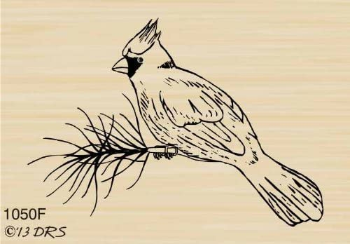 1//2 Inch Mini Cardinal Bird Solid Rubber Stamp for Stamping Crafting Planners