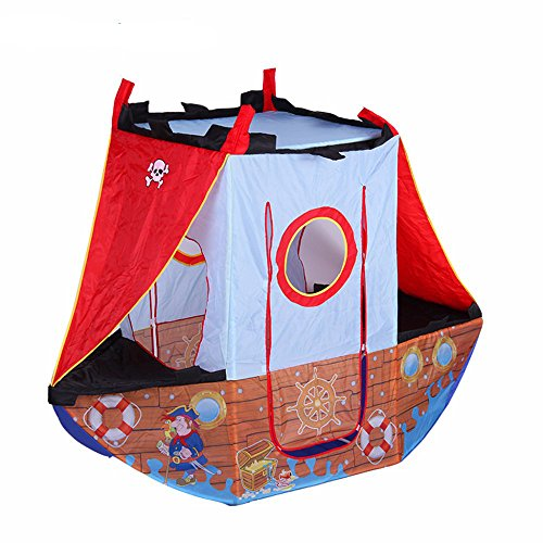 (Boy's Pirate Ship Play Indoors or Outdoors Children Play Tent for Kids (Washable and Foldable with Portable bag))