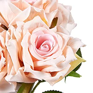 Juvale Pink Roses Artificial Flowers 10 Count - Silk Artificial Flower Bouquet, Fake Roses Wedding Parties, Valentine's Day, Table Home Decorations 5