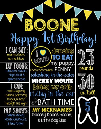 Dozili Personalized Boys Theme Birthday Chalkboard Style Metal Sign- Printable Birthday Chalkboard Style Metal Sign- Birthday Board- Personalized Custom Sign- Yellow- Blue- 1st (Halloween Jokes Printable)