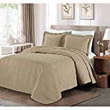 C&U 3 Piece Khaki Oversized Bedspread Queen, Brown Geometric Pattern Oversize To The Floor Extra Long Bedding, Wide Drapes Over Edge Drops Down Shabby Chic French Country Checkered Plaid, Cotton