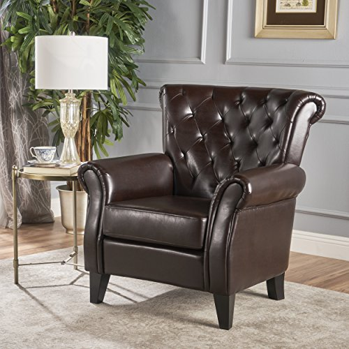 (Christopher Knight Home 219813 Greggory Oversized Tufted Brown Leather Club Chair, Hazelnut)
