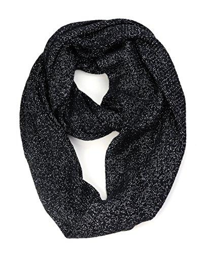 NYFASHION101 Soft Warm Acrylic Infinity Scarf w/ Glittered Accent, Black/Silver