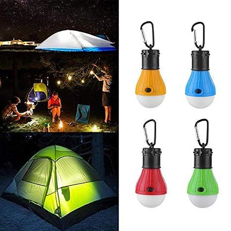Myhonour LED Campinglampe 3A Batterie Camping Lampen LED Campingleuchte mit Karabiner Tragbare Laterne Zelt Leuchtmittel Zeltlampe Gl/ühbirne Set f/ür Camping Schwarz 1 St/ücke
