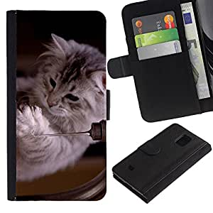 Stuss Case / Funda Carcasa PU de Cuero - Ragdoll Maine Coon Kitten Cat Feline - Samsung Galaxy S5 Mini, SM-G800