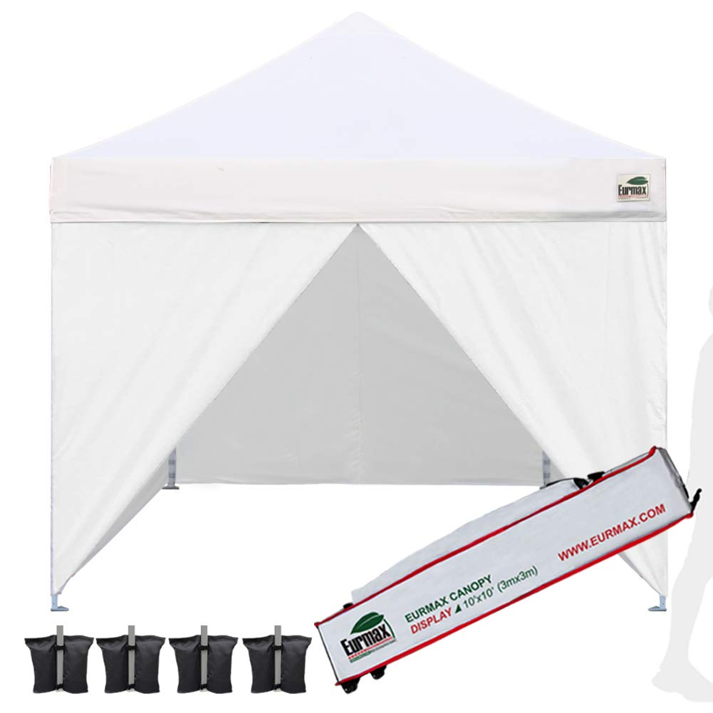 Eurmax 10ftx10ft Pop up Canopy Commercial Tent Outdoor Instant Canopies Party Shelter with 4 Zippered Sidewalls,Roller Bag Bonus 4 Sand Bags White