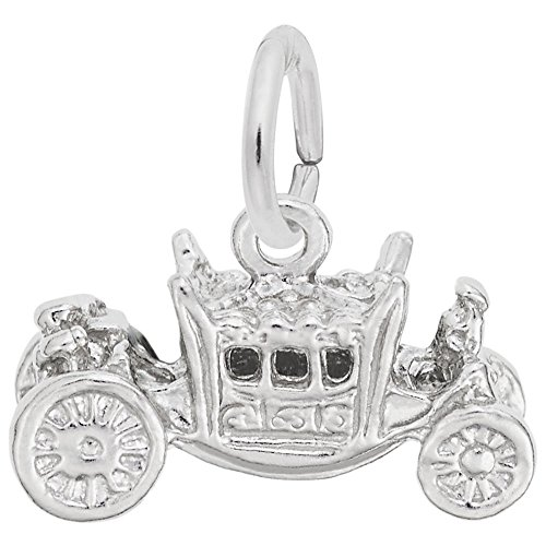Royal Carriage Charm In 14k White Gold, Charms for Bracelets and Necklaces