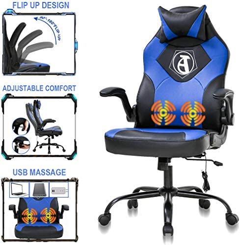 PC Gaming Chair Ergonomic Racing Computer Office Chair Video Game Chair, Massage Function Lumbar Support with Flip Up Arms Headrest Nice Chic Desk Chair, Adjustable Best Game Office Chair – Blue