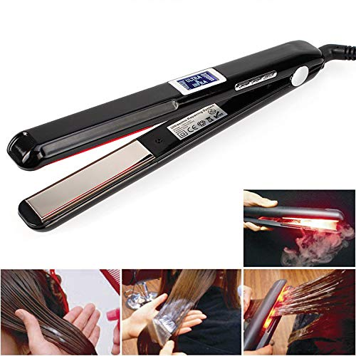 (Hair Care Ultrasonic Infrared Hair Straightener, Saprex Professional Cold Flat Iron Hair Treament Styler Therapy Conditioning Tool Recovers the Damaged Hair Ultrasonic Infrared Hair Care Iron #Black)