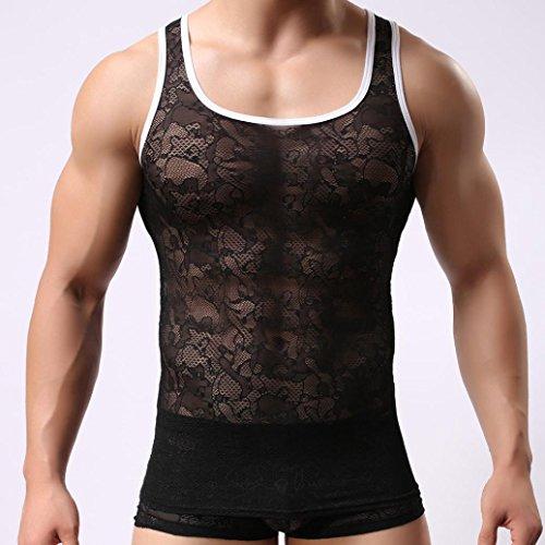 iYYVV Men's Tank Tops Muscle Sexy Lace Vest Mesh Casual Top Summer Nightwear - Z Ball Dragon Wear Sleep