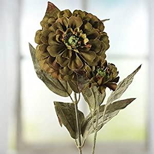 Factory Direct Craft Group of 10 Artificial Autumn Green Zinnia Floral Sprays for Crafting, Creating and Embellishing 3