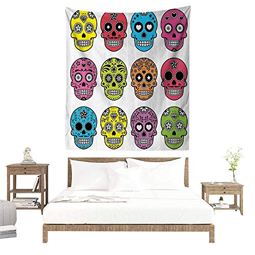 (alisoso Wall Tapestries Hippie,Skulls Decorations Collection,Ornate Colorful Traditional Mexian Halloween Skull Icons Dead Humor Folk Art Print,Mu W39 x L39 inch Tapestry Wallpaper Home)