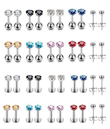 G~20G CZ Stainless Steel Stud Earrings for Men Women Cartilage Earrings Helix Ear Nose Labret Piercing Monroe Lip Rings Tragus Piercing Jewelry (Heart) ()