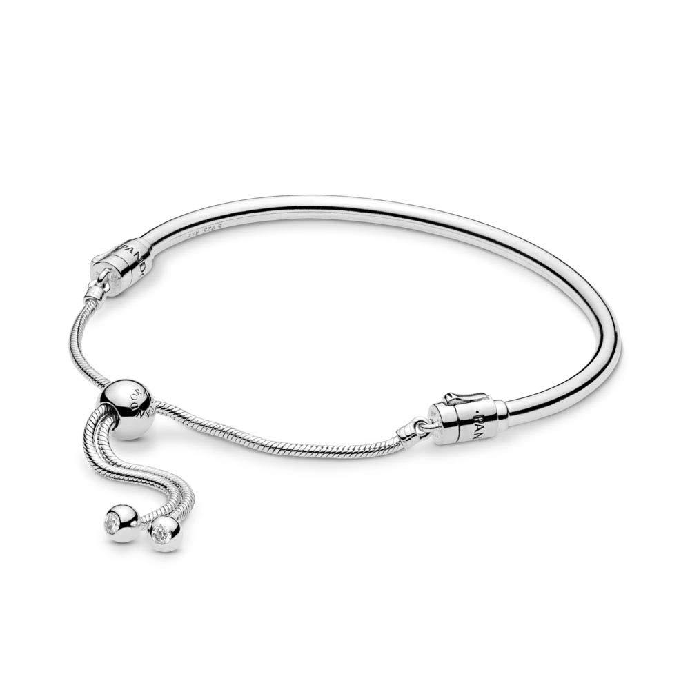 PANDORA Moments Sliding Bangle 925 Sterling Silver Bracelet, Size: 19cm, 7.5 inches - 597953CZ-2 by Pandora