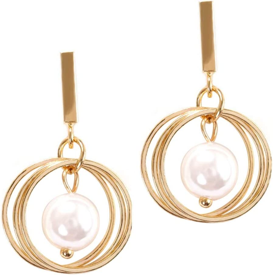 Pendientes de Perlas 925 Plata Pendientes de Múltiples Anillos Pendientes Colgantes de Metal Pendientes de Gota para Mujeres