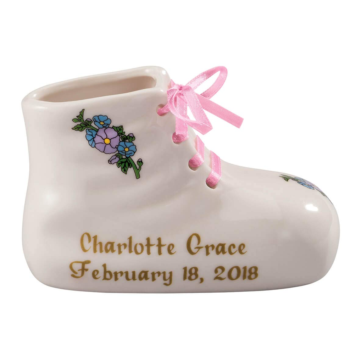 Porcelain Personalized Baby Bootie Heirloom – Pink Girl – Customize Ceramic Baby Shoe Keepsake with Baby Name and Birth Date – Birth, Baptism or Christening Gift – 4 Long by 2 Wide