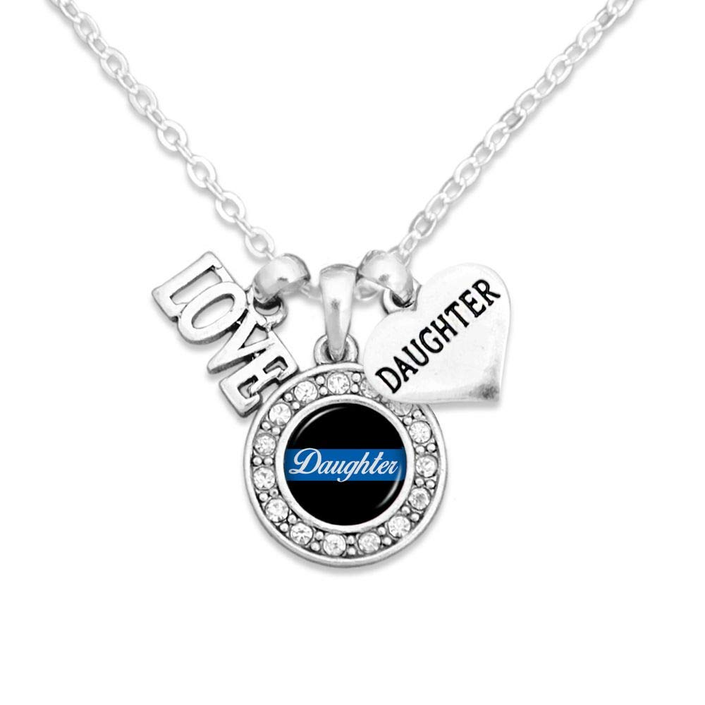 Lola Bella Gifts Police Wife Law Enforcement Thin Blue LineSupport Love Charm Necklace with Gift Box