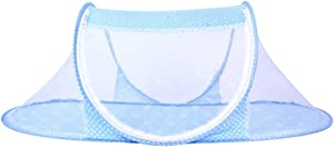 CHRISLZ Ultra Thin Summer Mosquito Net for Children Portable Folding Baby Travel Bed Crib Baby Cots Newborn Foldable Crib (Blue-Thin)