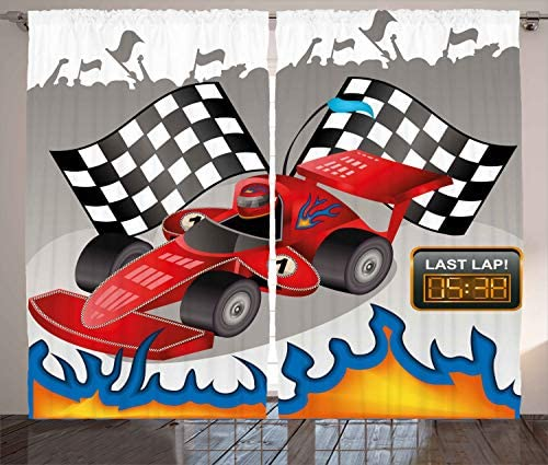 Ambesonne Cars Curtains, Race Car with Finish Line Flags Pilot and Flames with Abstract Grey Background Print, Living Room Bedroom Window Drapes 2 Panel Set, 108 X 84 , Grey Red