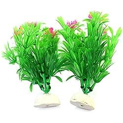 Artificial Aquatic Water Plants Grass Flower Landscaping Fish Tank Decor 15cm (2pcs Green)