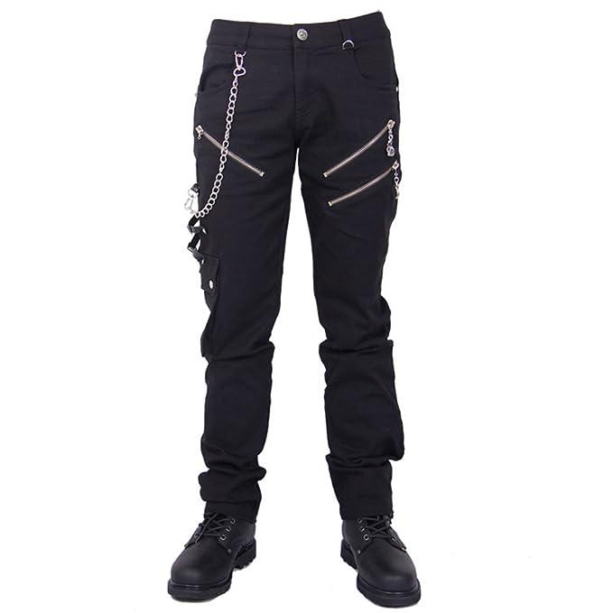 Devil Fashion Punk Pantalones Vaqueros Hombre Negro ...
