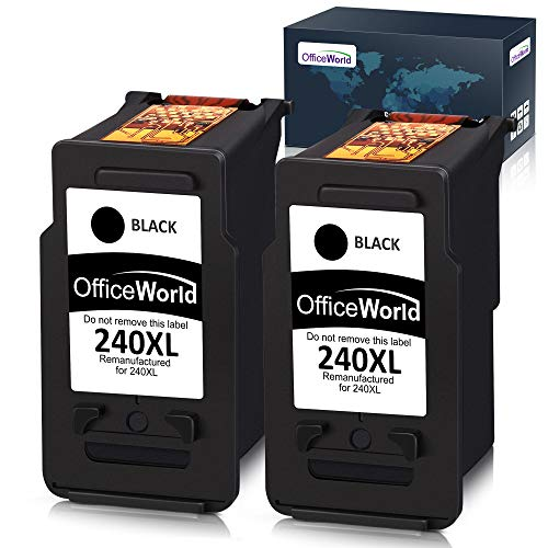 Office World Remanufactured Ink Cartridge Replacement for Canon PG-240XL 240 XL for Canon Pixma MG3620 MX472 MX452 MG3220 MG3520 MG2220 MX532 MX392 MX432 MX512 (Black, 2-Pack)