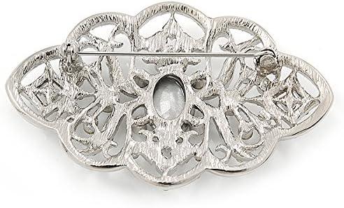 63mm L Avalaya Bridal//Wedding//Prom Art Deco Clear Austrian Brooch In Rhodium Plating