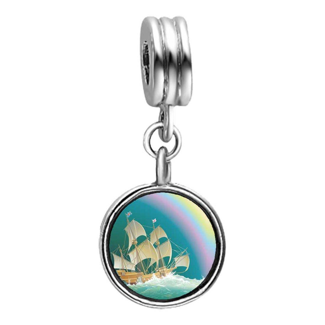 GiftJewelryShop Olympics Sailing on The sea Rainbow Sapphire Crystal September Birthstone Flower Dangle Charm Bracelets