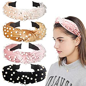 Allucho 4 Pack Velvet Wide Headbands Knot Turban Hairband Vintage Head Wrap with Faux Pearl Elastic Hair Hoops Fashion Hair Accessories for Women and Girls, Christmas Party Decorations(4 Colors)