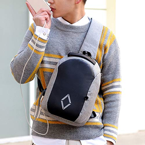 Color : Black YQSMYSW Creative Casual Outdoor Mens Shoulder Bag Messenger Bag wear-Resistant Waterproof Oxford Cloth Chest Bag