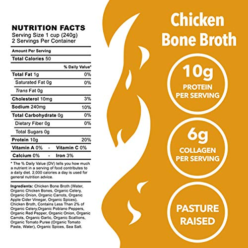 Kettle & Fire Chicken Bone Broth Soup by Kettle and Fire, Pack of 6, Keto Diet, Paleo Friendly, Whole 30 Approved, Gluten Free, with Collagen, 7g of protein, 16.2 fl oz by Kettle & Fire (Image #2)